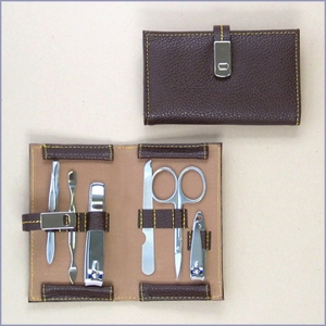 Leather Travel Grooming Set