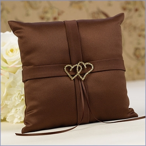 Linked Heart Ring Bearer Pillow Brown