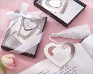 Love Story Heart Bookmark with Elegant Silk Tassel Wedding Favors