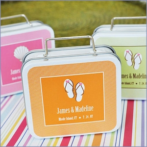 Love to Travel Personalized Suitcase Tins Wedding Favors
