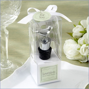 Lovebirds Chrome Bottle Stopper