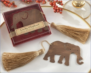 Lucky Elephant Metal Bookmark Wedding Favor with Silk Tassel