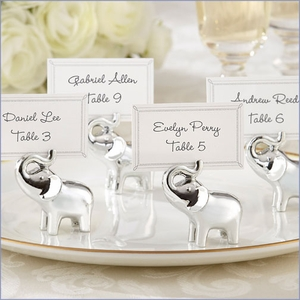 Lucky in Love Silver-Finish Elephant Place Card/Photo Holder - Set of 4