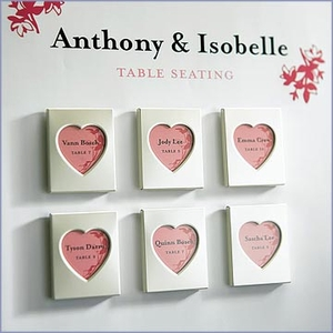 Mini Magnet Back Aluminum Heart Wedding Photo Frame Favors - Set of 3