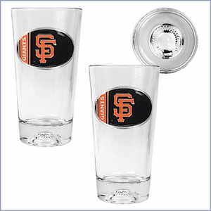 MLB Oval Logo Pint Ale Glass 2 pc Set with Baseball Bottom