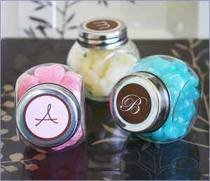 Monogram Candy Jars Wedding Favors