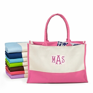 Monogram Color Block Canvas Tote Bag