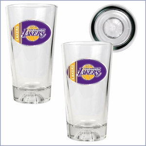 NBA Oval Logo Pint Ale Glass 2pc Set with Basketball Bottom