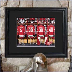 NHL Locker Room Personalized Print with Wood Frame