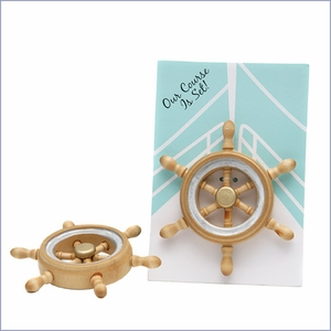 Our Course is Set Boat Wheel Magnet Wedding Favor - Set of 6