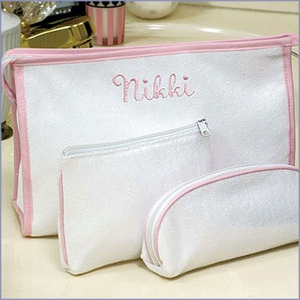 Personalized 3 Pieces Terry Cloth Cosmetic Bag Set