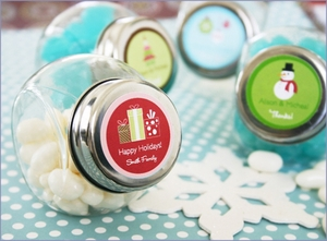 Personalized A Winter Holiday Candy Jars Wedding Favors