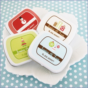 Personalized A Winter Holiday Wedding Mint Tins Favors