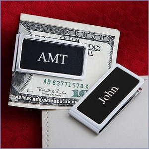 Personalized Black Leather Chrome Plated Money Clip