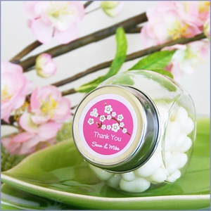 Personalized Cherry Blossom Candy Jars Wedding Favors