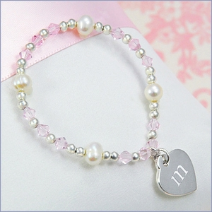 Personalized Child's Heart Charm Crystal Bracelet