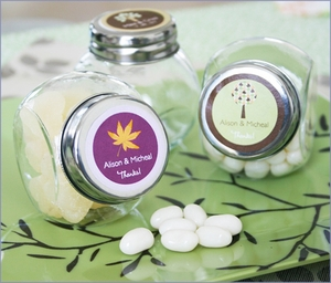 Personalized Fall for Love Candy Jars Wedding Favors