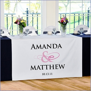 Personalized Flourish Wedding Reception Table Runner