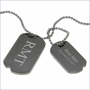 Personalized Gunmetal Dog Tag Necklace