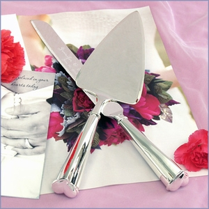 Personalized Heart-Handle Cake Knife & Server Set