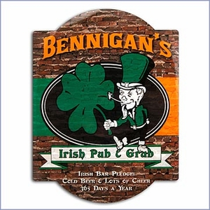 Personalized Irish Pub & Grub Bar Sign