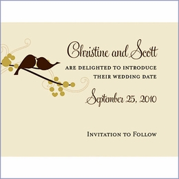 Personalized Love Bird Save the Date Card - Set of 8