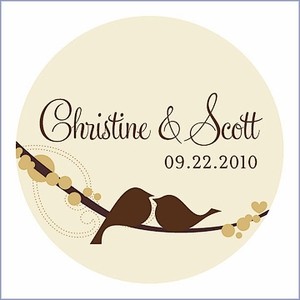 Personalized Love Bird Wedding Favor Sticker
