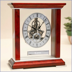 Personalized Mahogany Skeleton Clock