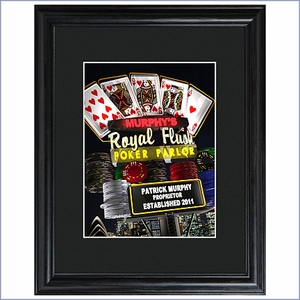 Personalized Marquee Nighttime Royal Flush Framed Print