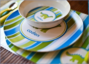 Personalized Melamine Plate and Bowl Set