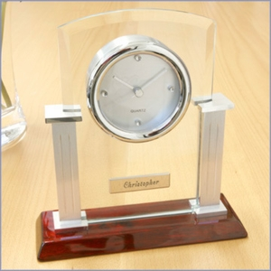 Personalized Modern Glass, Metal and Wood Mantle Clock