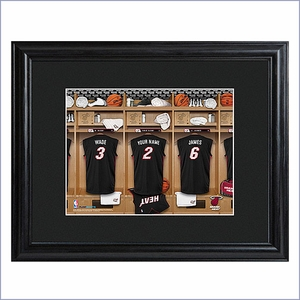 Personalized NBA Locker Room Print w/Wood Frame