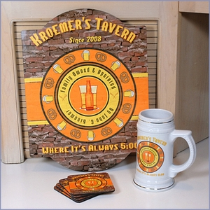 Personalized Old Tavern Sign, Stein & Coaster Set