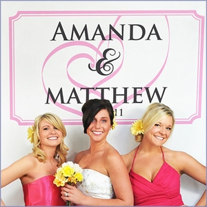 Personalized Photo Booth Backdrop - Embracing Hearts