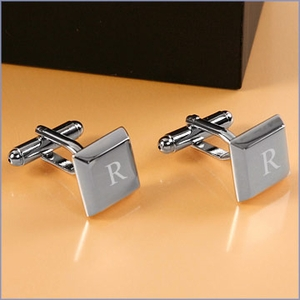 Personalized Rhodium Plated Square Keys Cufflinks