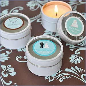 Personalized Round Travel Candle Tins Wedding Favors
