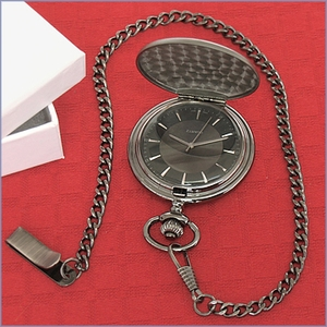 Personalized Satin Gunmetal Pocket Watch