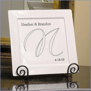 Personalized Sheer Elegance Square Platter & Easel Set