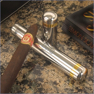 Personalized Single Cigar Holder With Gold Rim