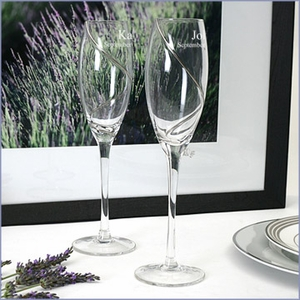 Personalized  Swirl Toasting Flutes