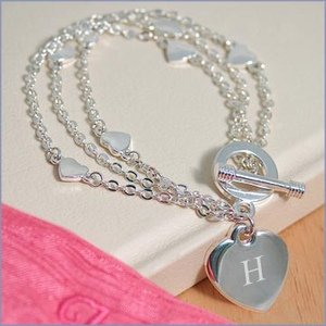 Personalized Triple Strand Heart Bracelet