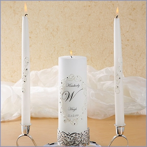 Personalized Unity Candle Set with Swarovski Crystal Lace