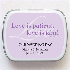 Personalized Wedding Mint Favors - Love is Patient