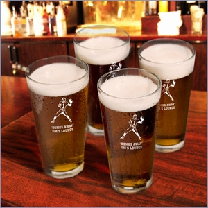Personalized with Sports Icon Pint Glasses (Set of 4)