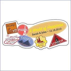 Personalized World of Happiness Wedding Favor Sticker