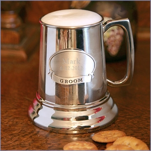 Polished Beer Mug with Personalized Medallion