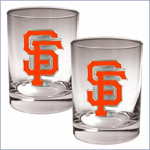 Primary MLB Logo 2pc Rocks Glass Set