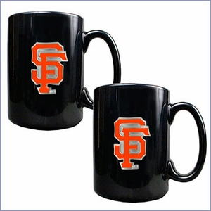 Primary MLB Logo Black Ceramic Mug Set