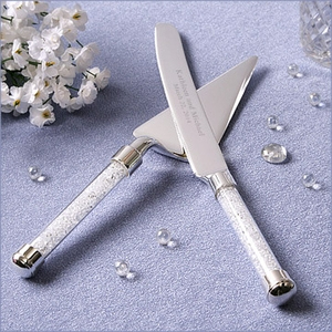 Rhinestone Handle Cake Knife and Server Set