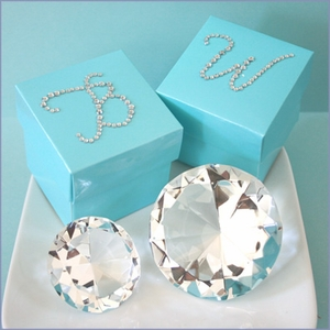 Rhinestone Monogram Sticker Favor Tags - Set of 12
